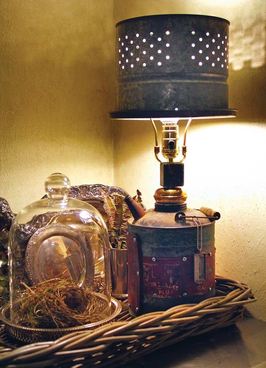 Gas Can Lamp With A Minnow Bucket Shade Stained Glass