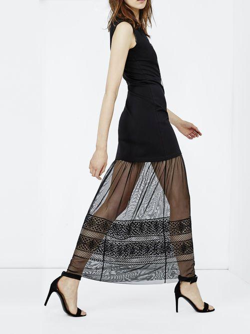 Long dress with eyelet embroidery - Midnight Maje - Maje.com