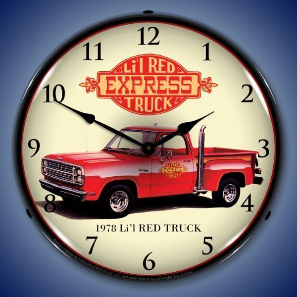 This Listing Is For This Brand New 1978 Dodge Lil Red Express Truck With Those Cool Exhaust Stacks Light Up A Red Truck Wall Clock Light Classic Pickup Trucks