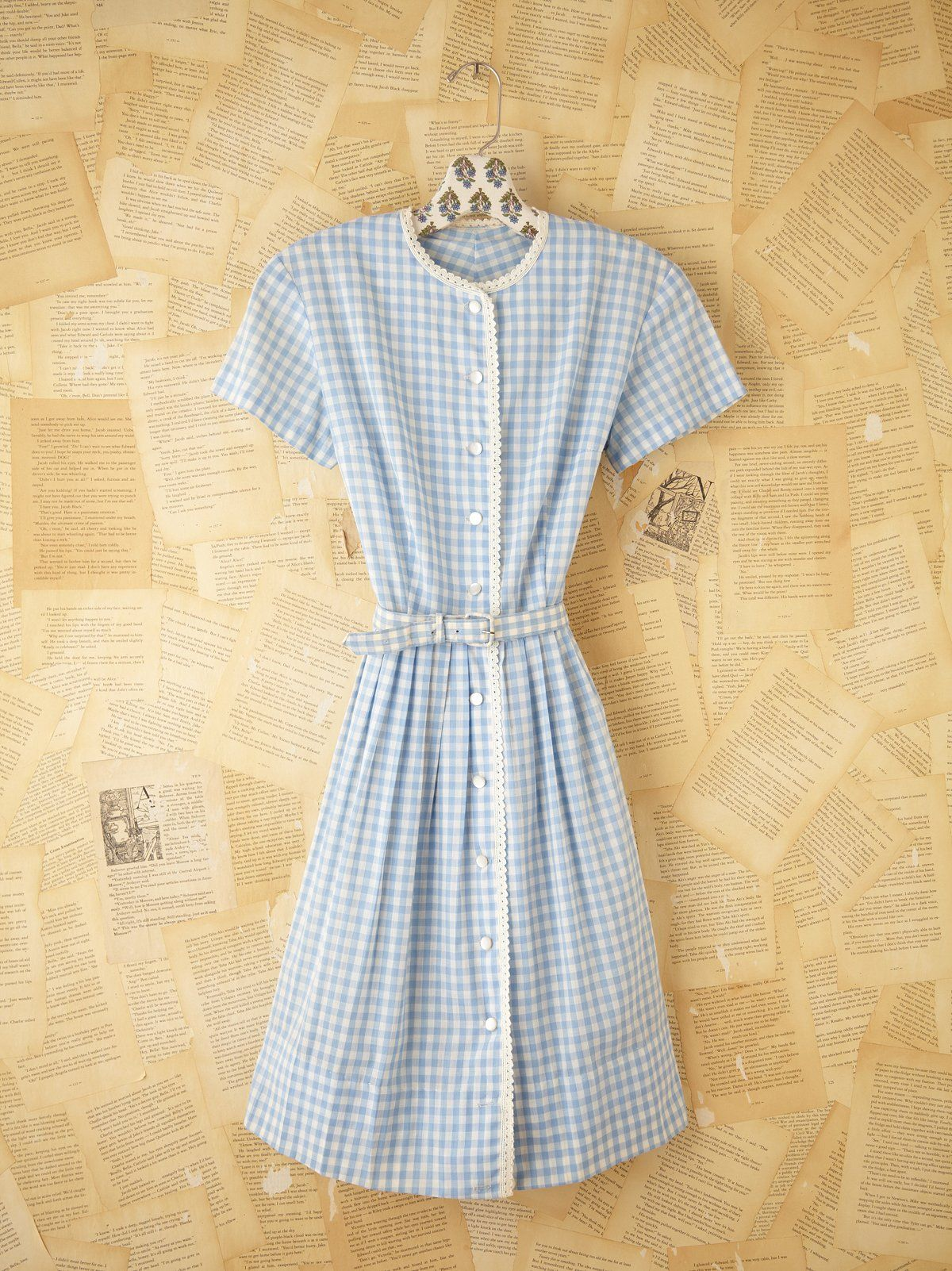 189d0c7e1c3028 Vintage Gingham Shirt Dress | Vintage cotton blue and white gingham button  down shirt dress with scalloped crochet trimming. Short sleeves.