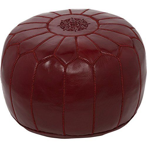 Fantastic Moroccan Poufs Leather Luxury Ottomans Footstools Maroon Theyellowbook Wood Chair Design Ideas Theyellowbookinfo