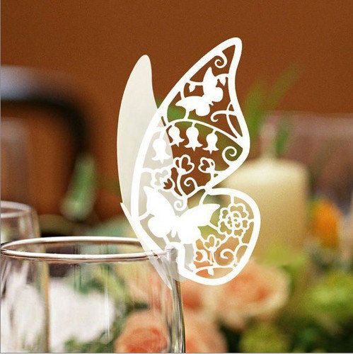 Pack Of 48 White Pearlized Paper Butterfly Wedding Table Name Place Cards  Wine Glass Party Decoration