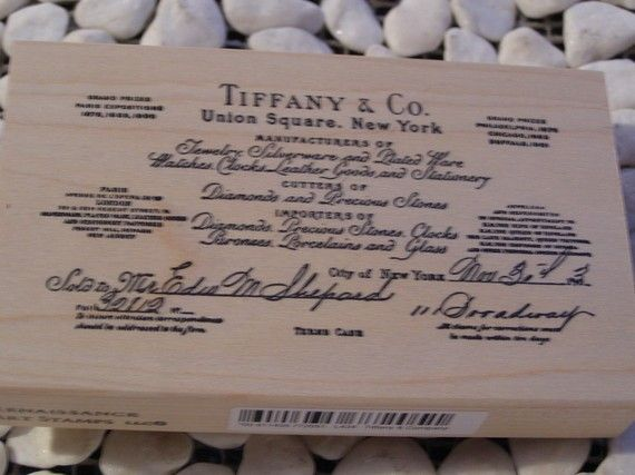 Tiffany And Company Wood Mounted Rubber Stamp By