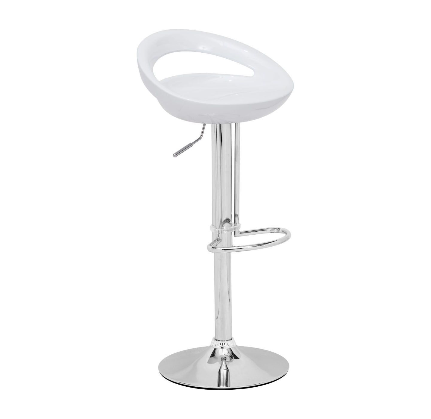 Smiling and laughing, the white Tickle barstool has a sculpted ergonomic seat made of ABS plastic. This stool is adjustable from counter to bar height with a chrome steel base and footrest.