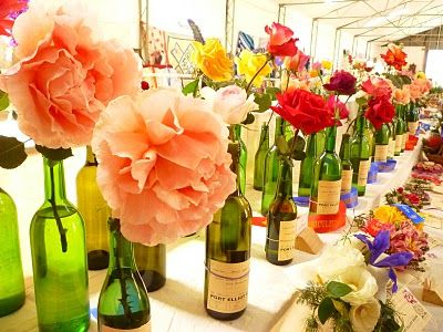 Old Wine Bottles As Flower Vases I Love The Green Glass With A Single Large