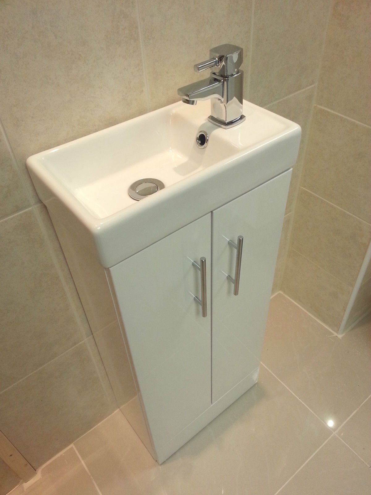 Ebay Bathroom Vanity With Sink: Compact 400 Mm Cloakroom Square Vanity Unit Ceramic Basin
