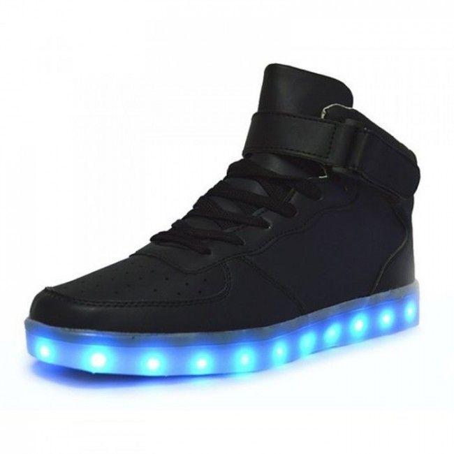 hoge led lichtgevende schoenen zwart dames oplichtende schoenen casual chic zwarte schoenen verlichting