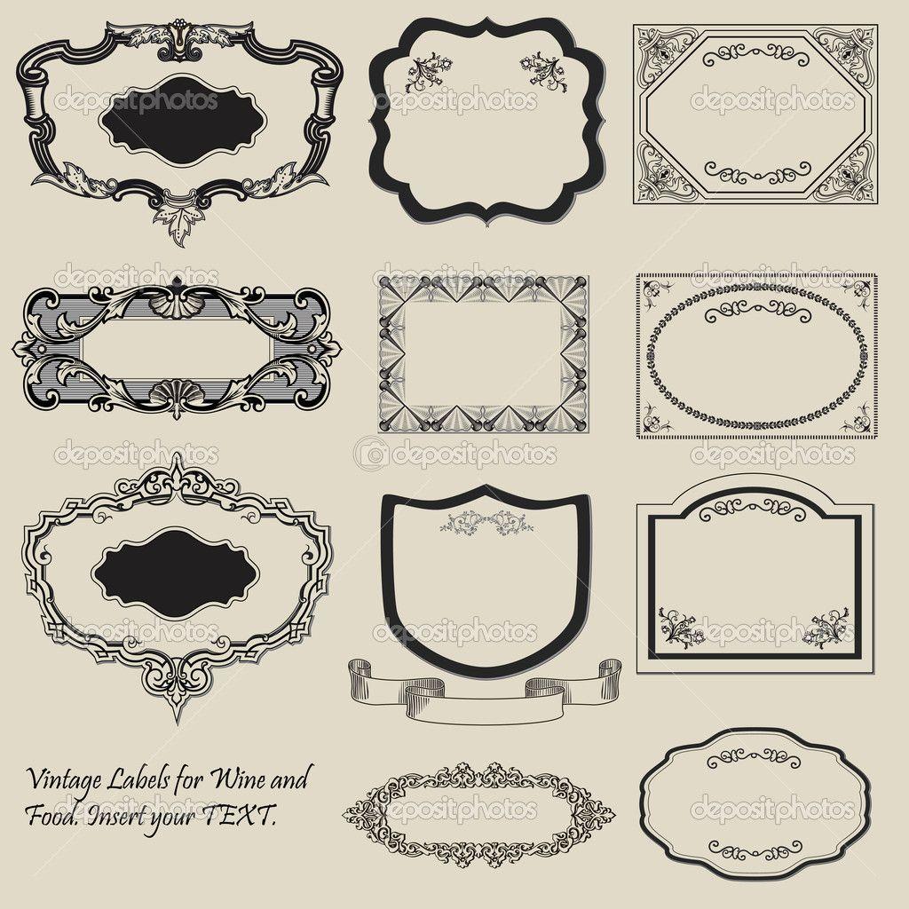 vintage labels - antique - vector — stock illustration © hartmut