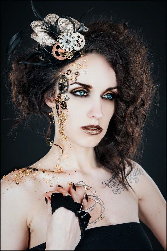 616dbcf99bf Steampunk Makeup Guide - Gears Glued to Face - For costume tutorials ...