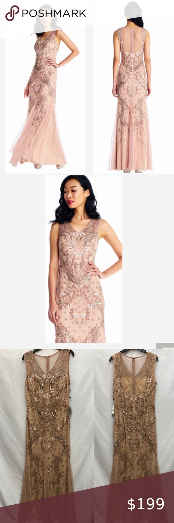 Adrianna Papell Rose Gold Beaded Godet Gown In 2020 Gowns Womens Dresses Adrianna Papell Dresses