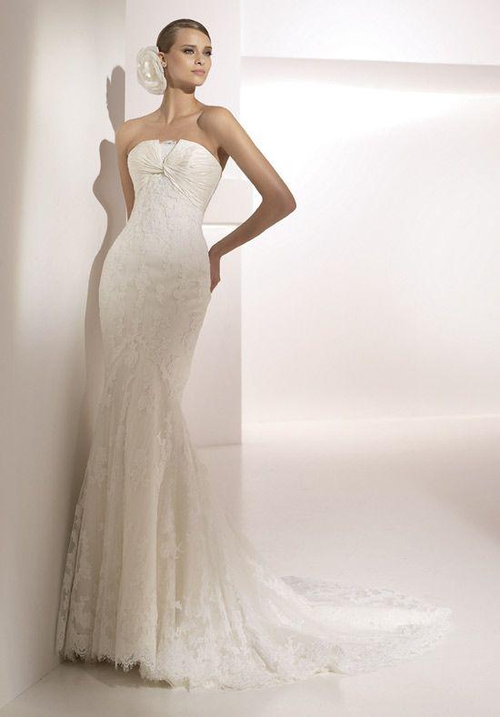 Siren Strapless Lace Mermaid Satin Chapel Train Wedding Gowns