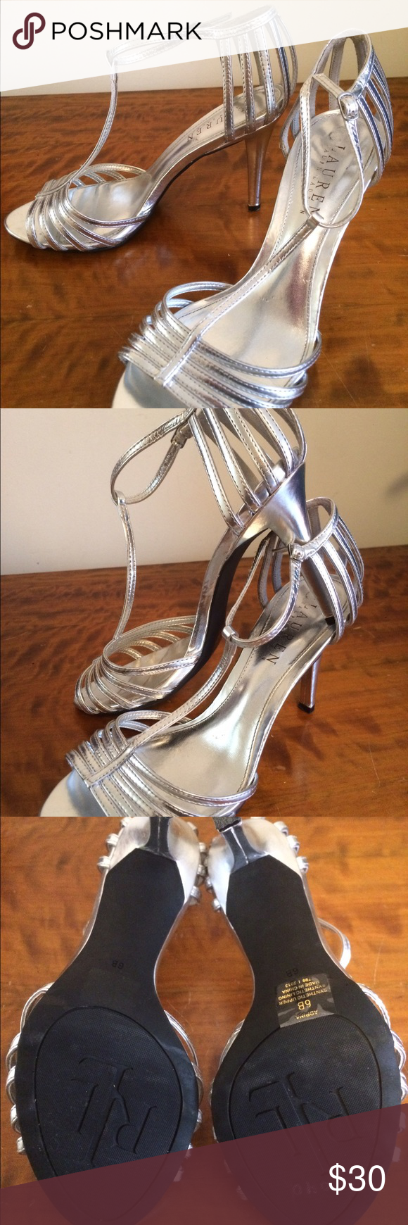 """Ralph Lauren Adrina Silver T Strap Heels Sz 6 Ralph Lauren """"Adrina"""" silver ankle t-strap heels. Size 6B with a 3.5"""" heel. Tried on for dress sizing, but never worn outside. Beautiful! Ralph Lauren Shoes Heels"""