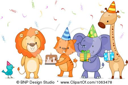 Clipart Birthday Party Animals With Cake And Gifts Royalty Free Vector Illustration By Bnp Design Jungle Animals Party Animal Party Free Vector Illustration