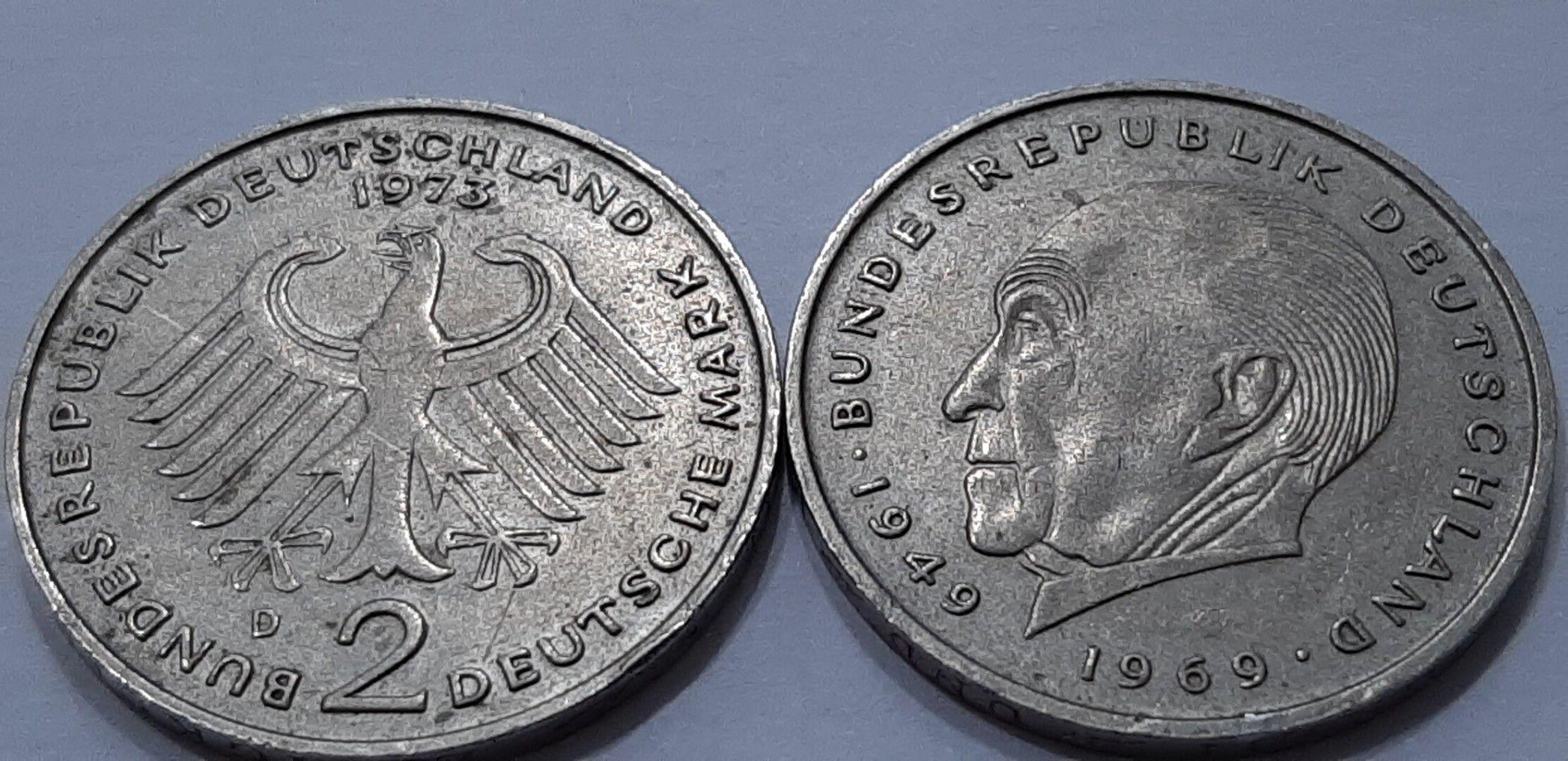 2 deutsche Mark Bundesrepublik Deutschland 1973 Old