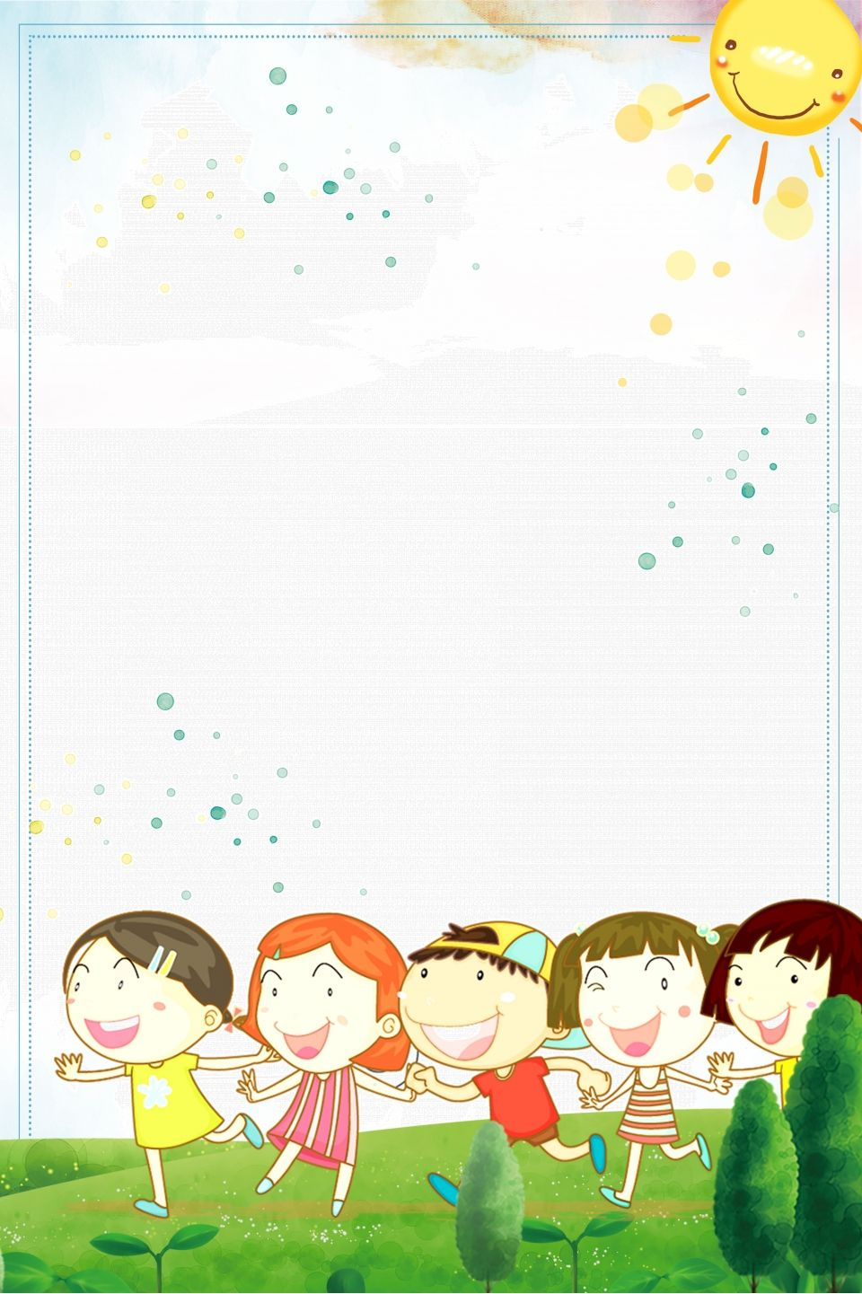 Materiale Di Base Per Gli Archivi Di Crescita Dell Asilo Dei Bambini Felici Kids Background Photo Book Template Happy Cartoon