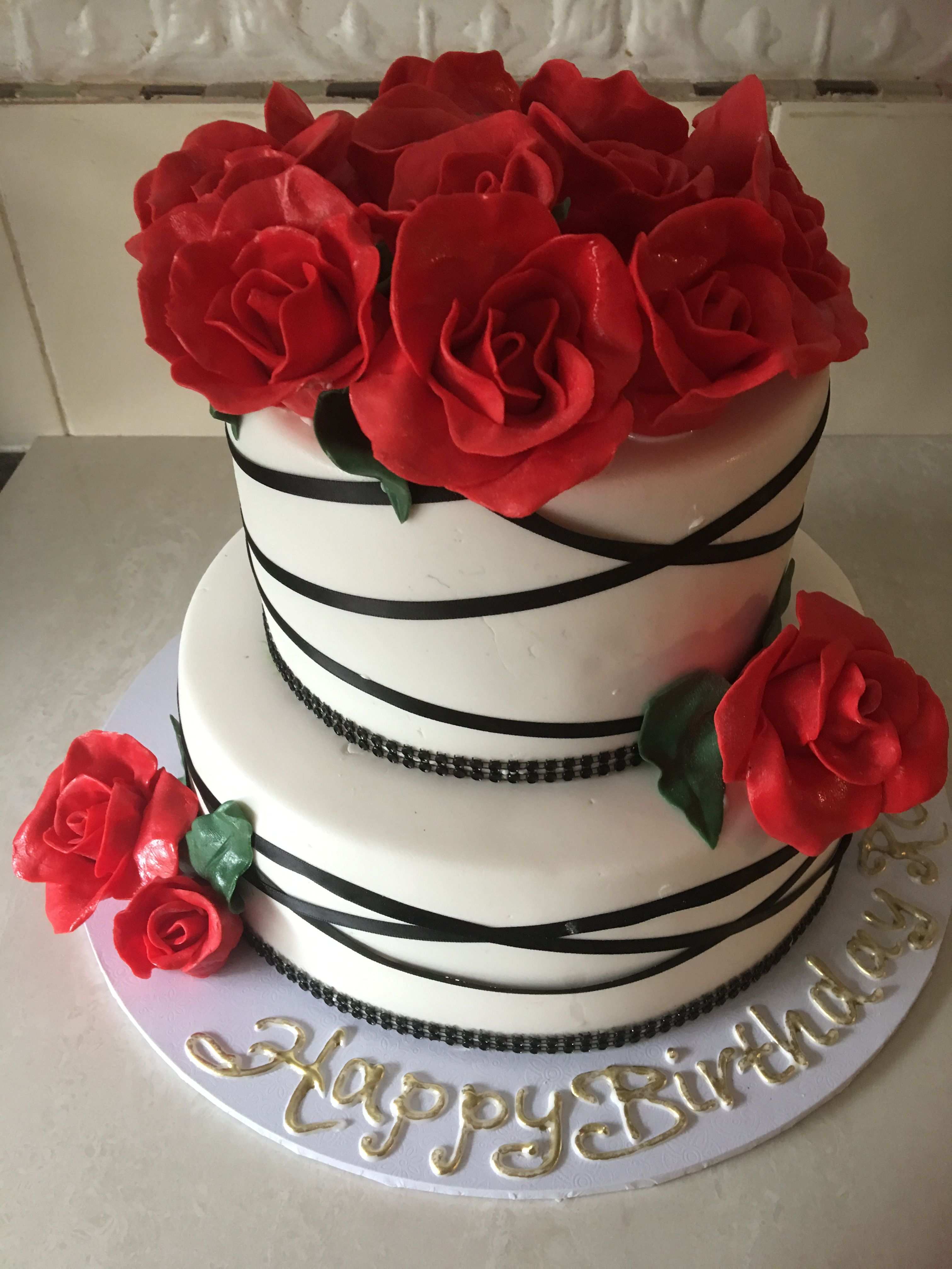 Red Roses Black Ribbon Romantic Two Tier White Birthday Wedding Cake