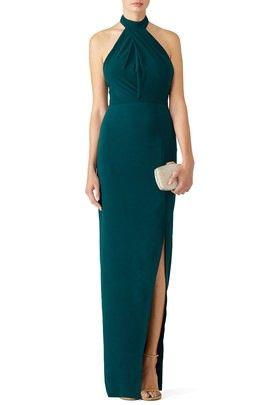 bcdcc6ae7da3 Dark green halter dress with thigh slit - rent the runway