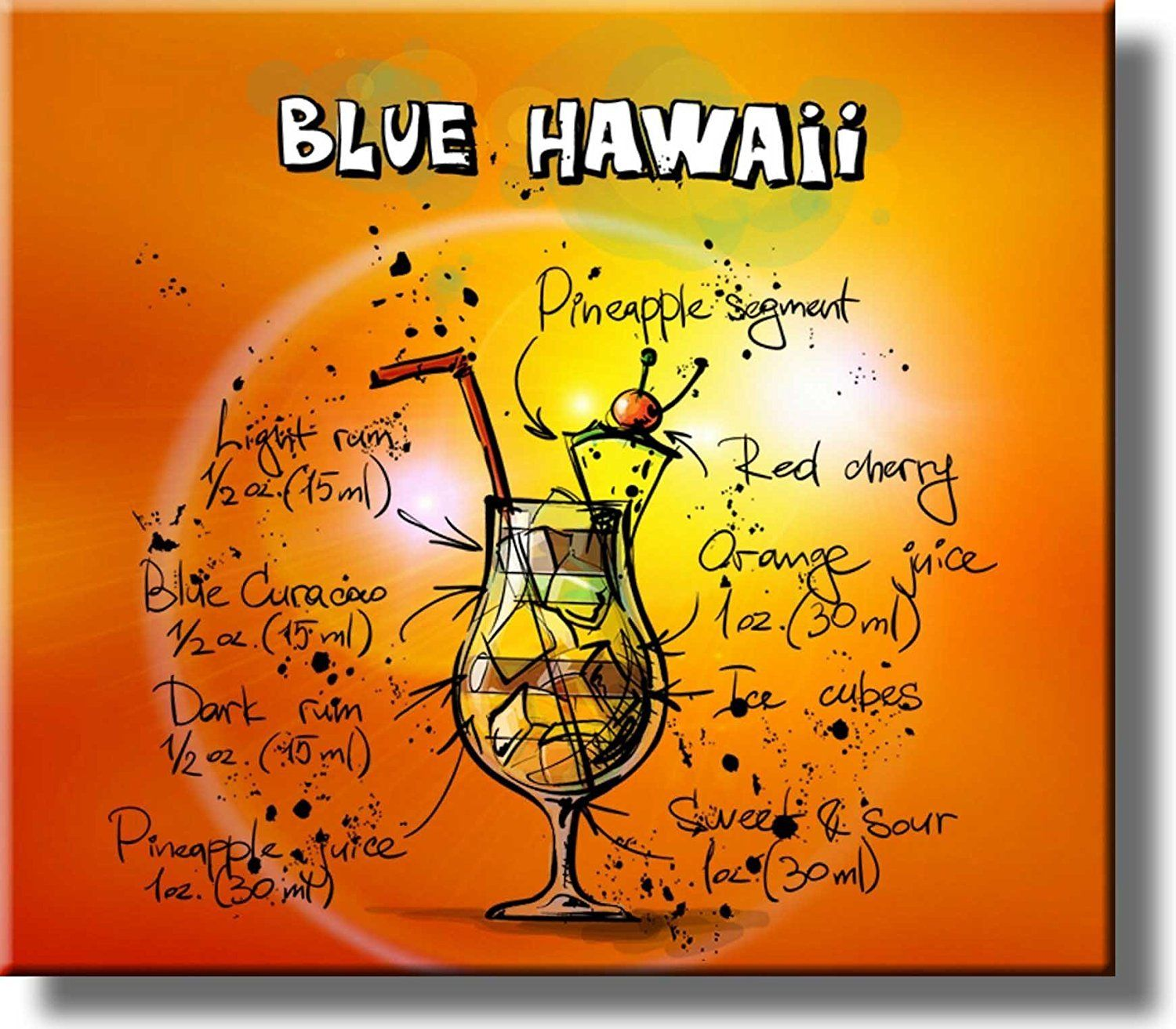 Blue Hawaii Recipe Drink Picture on Stretched Canvas, Wall Art Decor ...