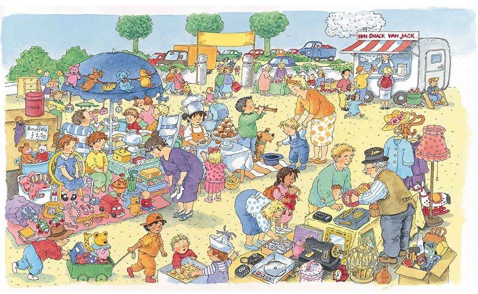 Praatplaat Bas - Rommelmarkt  (Getekend door Dagmar Stam)