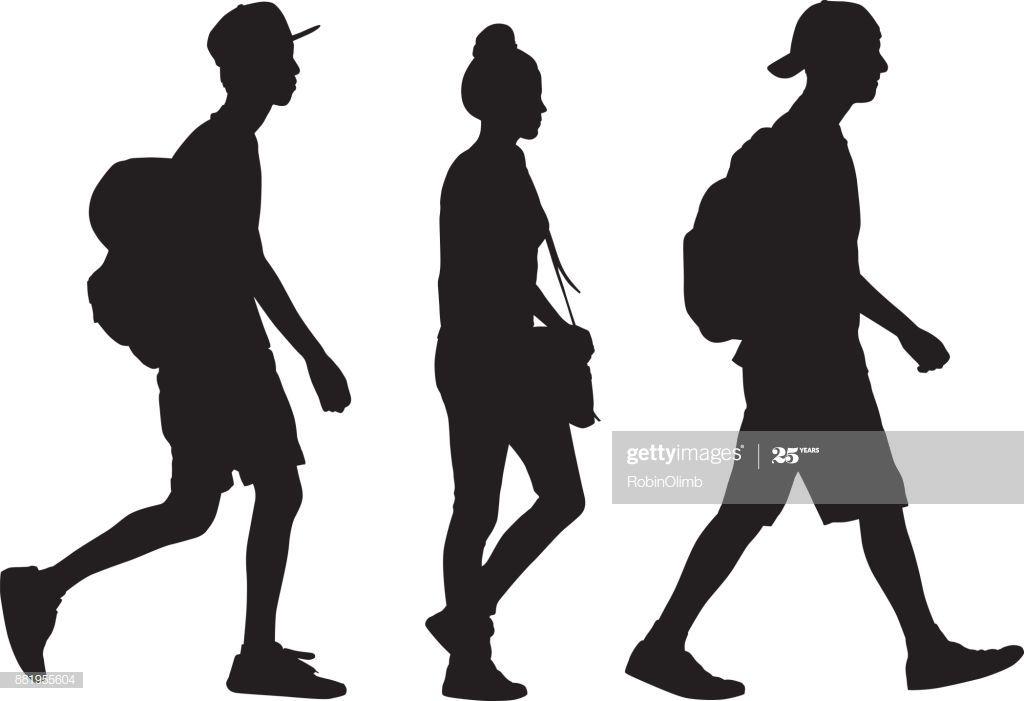 Vector Silhouette Of Three Teens Walking Together In A Row Person Silhouette Walking Silhouette Boy Silhouette