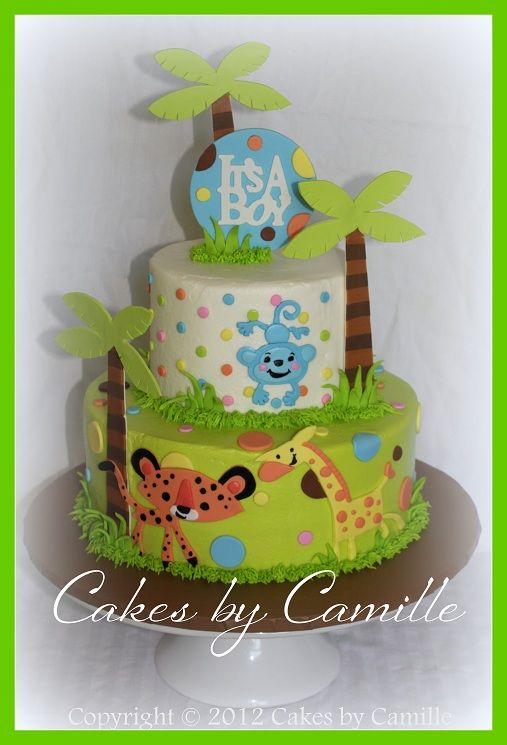 Lovely Fisher Price Jungle Theme Baby Shower Part - 3: Fisher Price Jungle Theme Baby Shower Cake