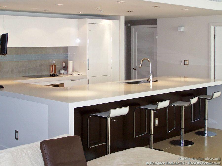 Contemporary White Kitchen, Modern Bar Stools - Designer ...
