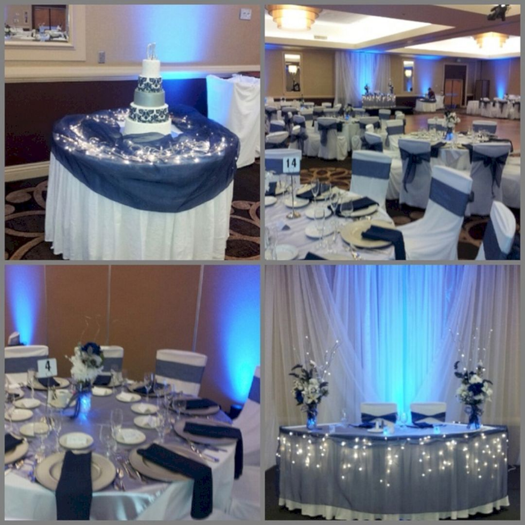 Images of wedding decor  Elegant Blue And Silver Wedding Decorations Ideas For Wedding