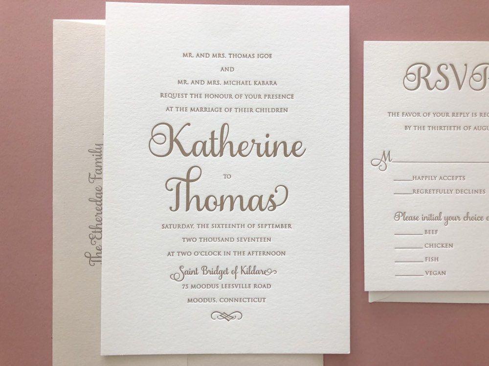 The Katherine Suite Classic Letterpress Wedding Invitation