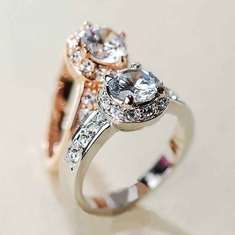 Unique Gold Plated Women Austrian Crystals water-drop Gem Zircon Wedding Rings