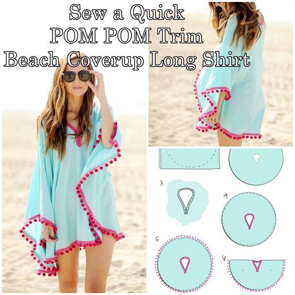 how to sew a quick POM POM trim beach coverup long shirt ...
