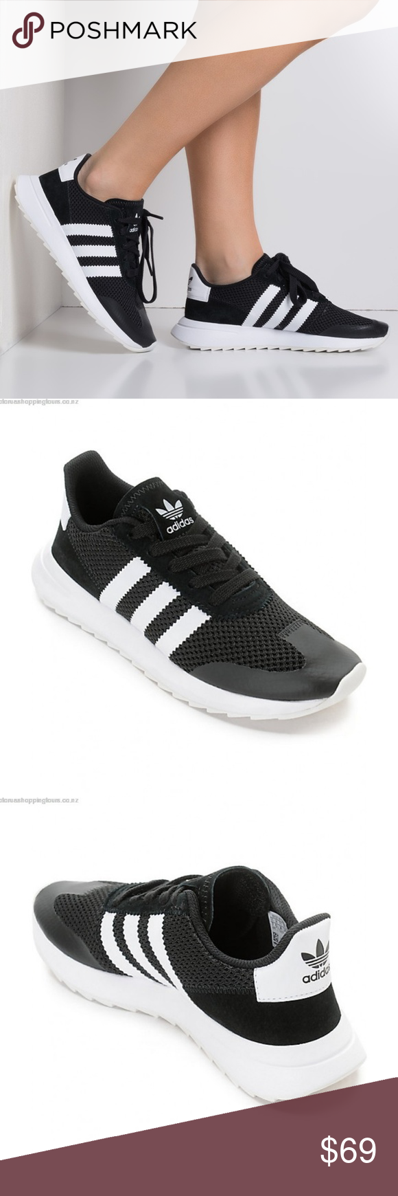 NEW adidas Flashback Black & White Athletic Shoes Brand New With Tags & Box !!!  Styled with a classic adidas '70s running heritage look, the Flashback Black and White Shoes offer a modern twist to past designs.The Flashback has a mesh upper with a nubuck toe along with suede heel detailing. For comfort, adidas has given these shoes an EVA midsole and an Ortholite infused cushioned footbed for added support. A blend of retro styling filled with plenty of technology to tackle your fast paced modern lifestyle  Sizes: Multiple Color: Black & White adidas Shoes Athletic Shoes