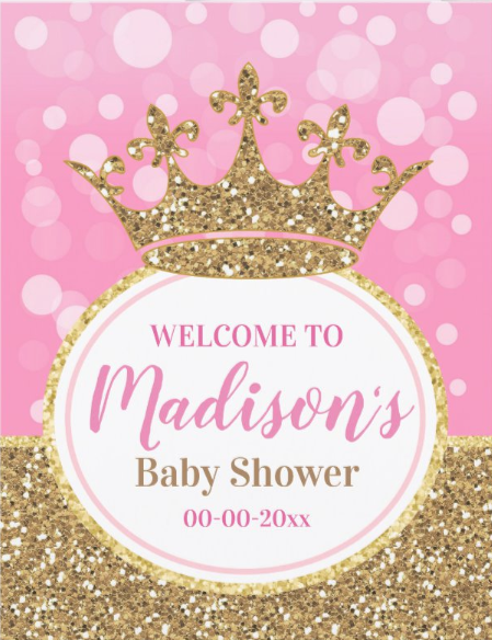 Pink Princess Crown Welcome Sign Girl Shower Gold Zazzle Com In 2021 Baby Shower Princess Baby Shower Princess Theme Crown Baby Shower