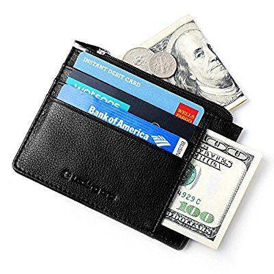 3fa67cf16d Portafoglio Uomo Piccolo Porta Carte di Credito del Cuoio Genuino con RFID  Blocking 10 Tasche Porta