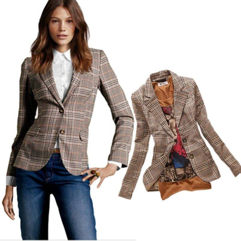 c58a7dc3ddc35a Damen Blazer 2016 in Englisch Style Kariert im Online Mode Shop: Grosse  Auswahl ✓ günstige