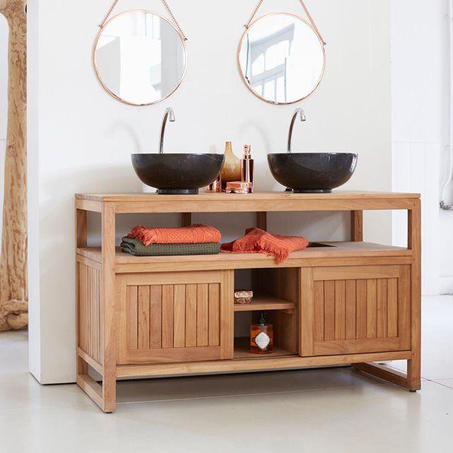 Meuble Salle de bain en bois de teck 120 Colonial Colonial - meuble salle de bain en chene massif
