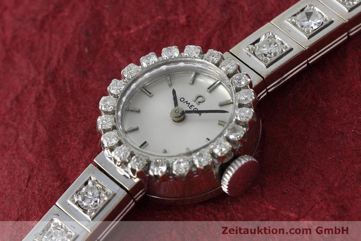 Omega Lady 18k 0 750 Weiss Gold Diamanten Traumhafte Damenuhr