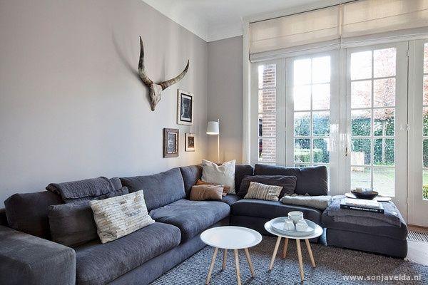 Grijze bank stylen interieur inspiratie pinterest for Bruin grijs interieur