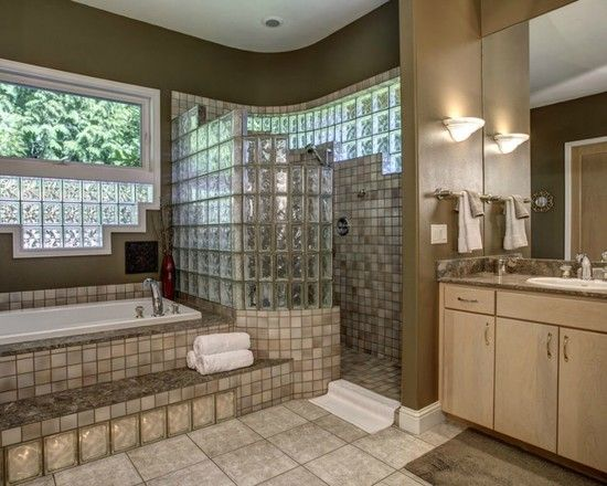 interesting photos of glass block showers traditional bathroom with glass block with curve for shower - Bathroom Designs Using Glass Blocks