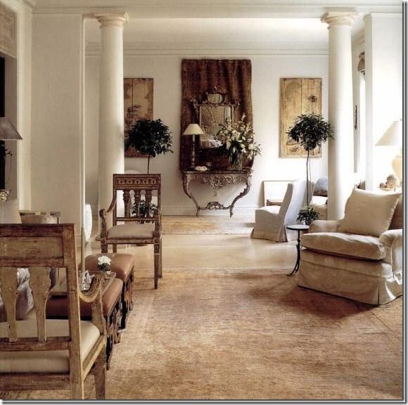 John Saladino Note The Mirror Hung On The Tapestry On The Far Wall Modernist Interior Design Interior Design #texas #themed #living #room