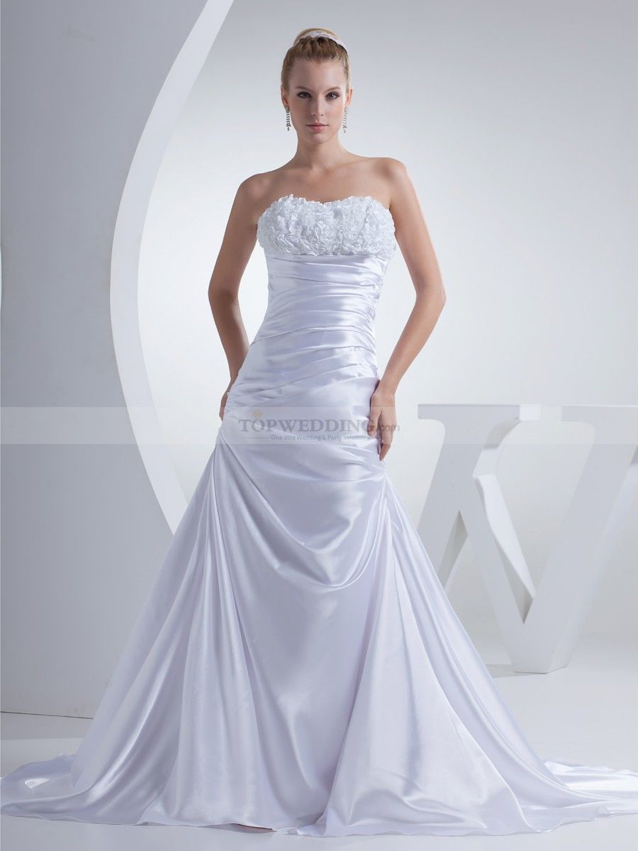 Strapless Princess Cut Elastic Satin Wedding Gown With Rosette Top
