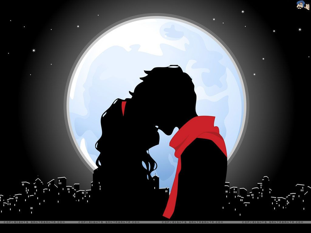 ART POSTER Happy End Kiss in the Moonlight