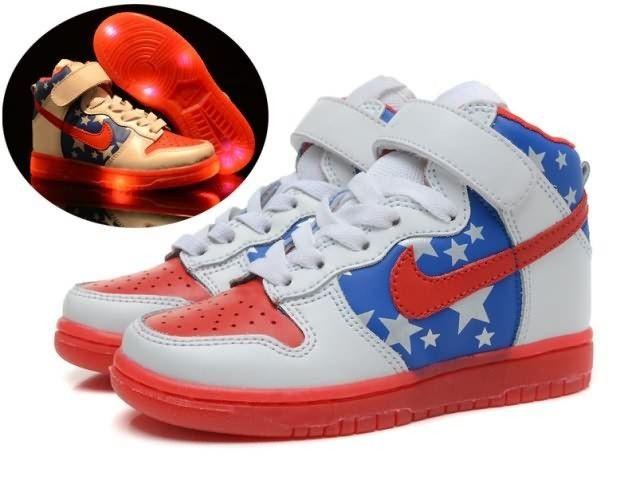 610239517e8 Captain American Nike Dunks Light Up Kids Shoes