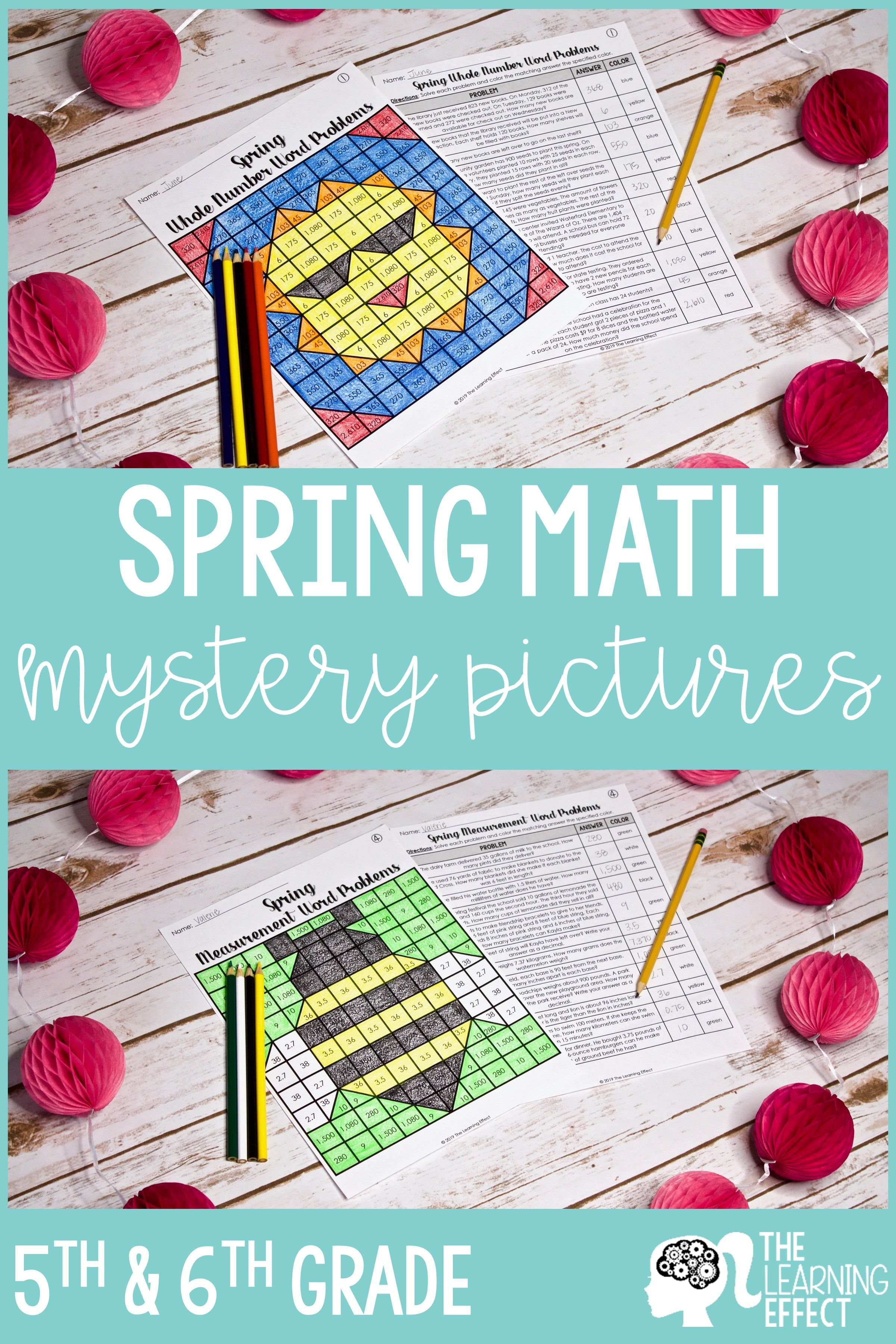 Spring Math Mystery Pictures Word Problems