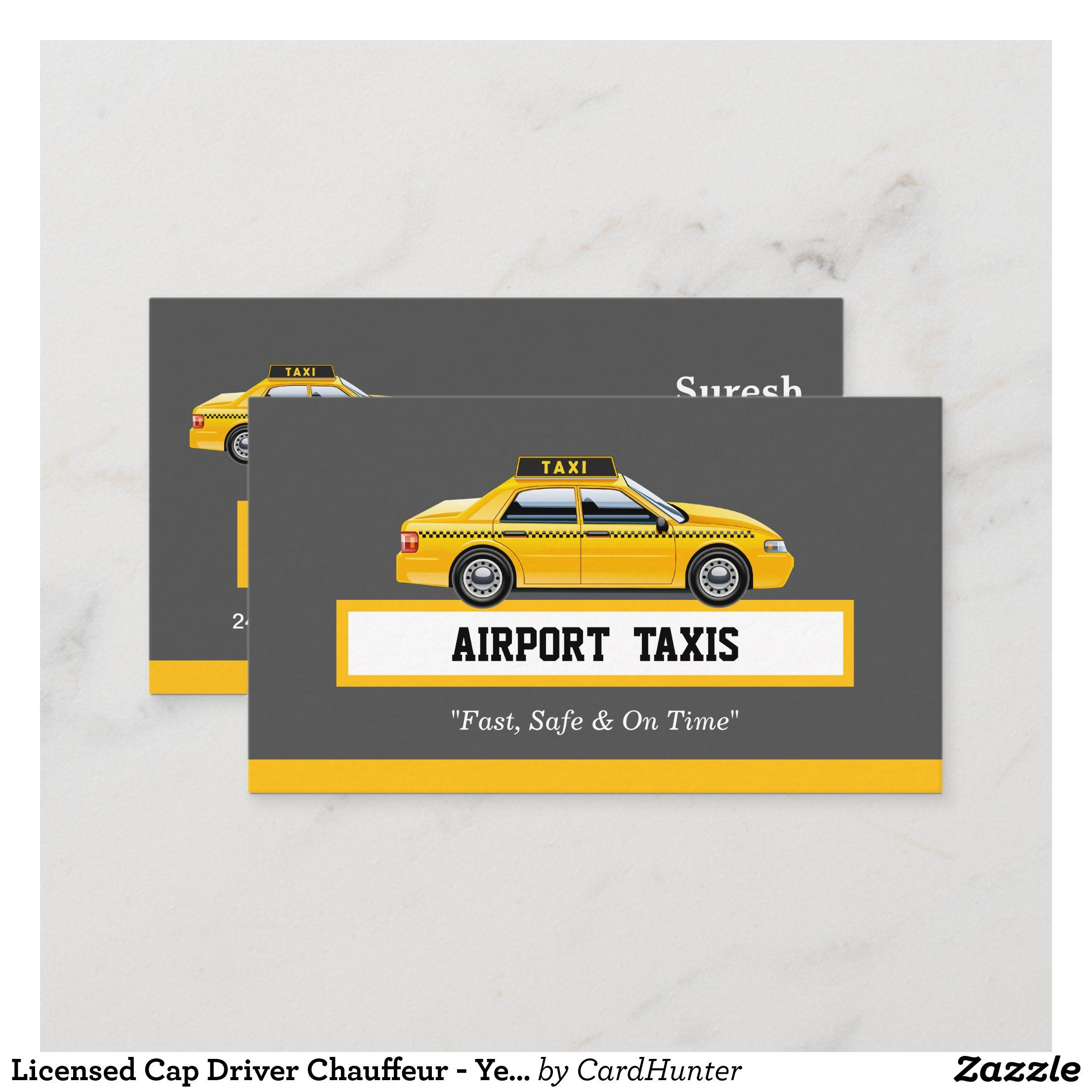 Licensed Cap Driver Chauffeur Yellow Taxi Business Card Zazzle Com Yellow Taxi Taxi Chauffeur