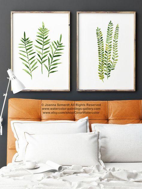Natur Wand Decor Geschenk Idee. Wandmalerei Von Green Home Dekoration  Küche. Home Garten Illustration. Preis Ist Für Den Satz Von 2 Aquarelle  Fern, ...