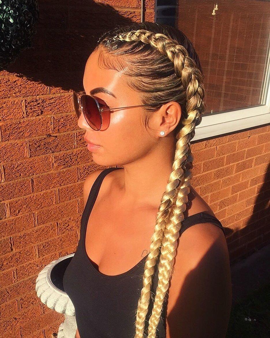 Pin By Janae Prugh On Hair And Beauty 2 Cornrow Braids Blonde Hair Girl Feed In Braids Hairstyles