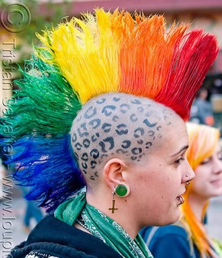 Woman with Rainbow Mohawk  Gay Pride (San Francisco)