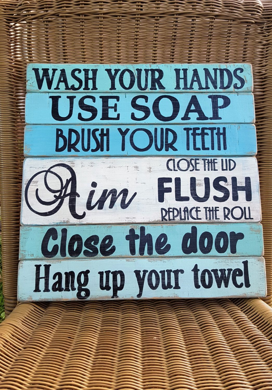 Bathroom Rules Sign Beach Bath Rustic By Ourlittlecountry On Etsy