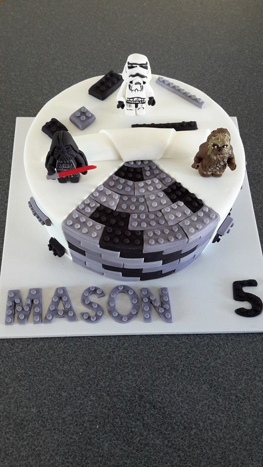 Star Wars Lego Cake With Darth Vader Storm Trooper And