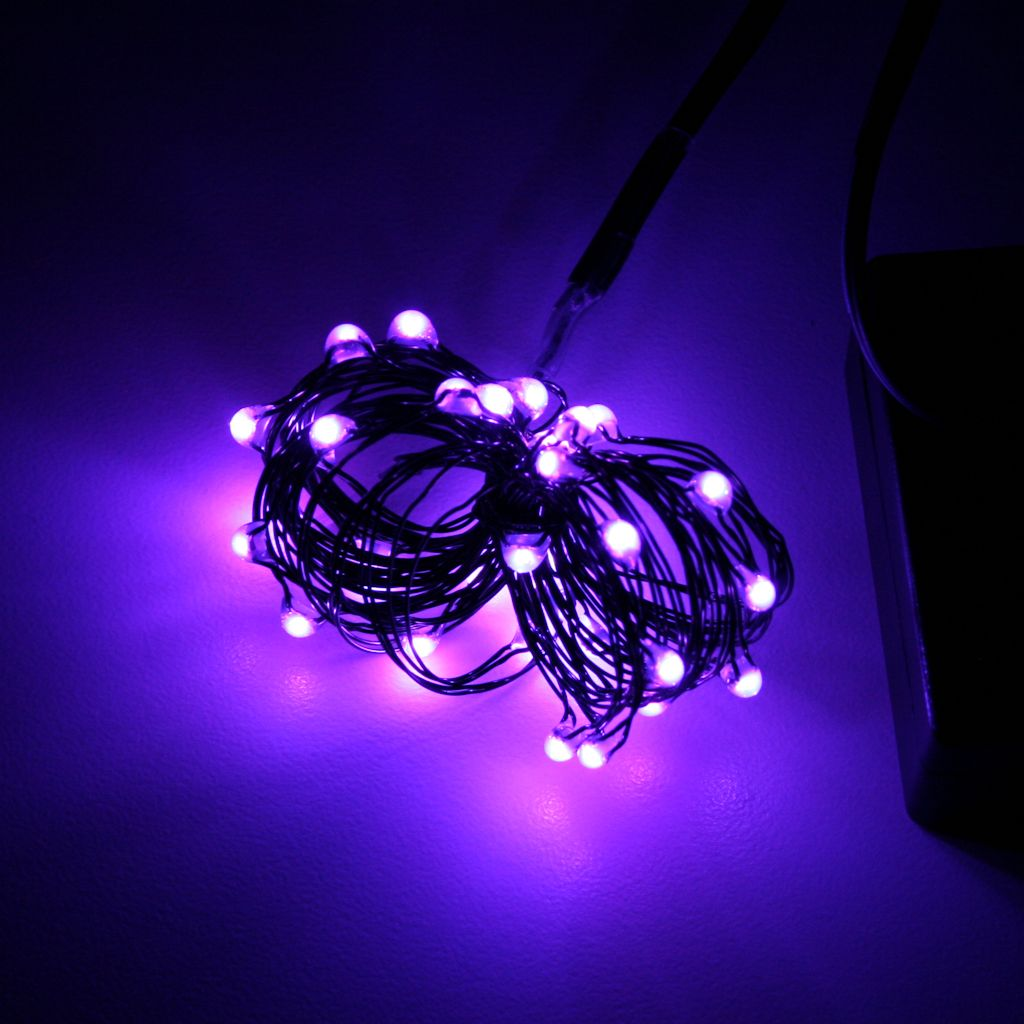 9 36 light black wire purple battery operated indoor led micro miniature string with timer